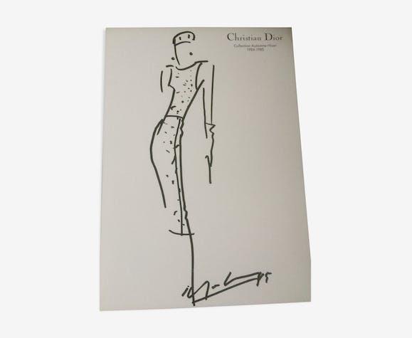 Illustration de mode  et sa photographie vintage de presse Christian Dior fin des années 80