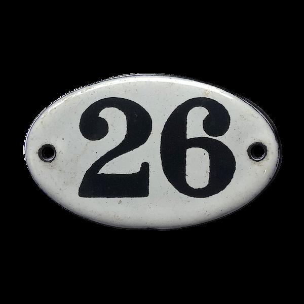 Plaque émaillée chiffre 26