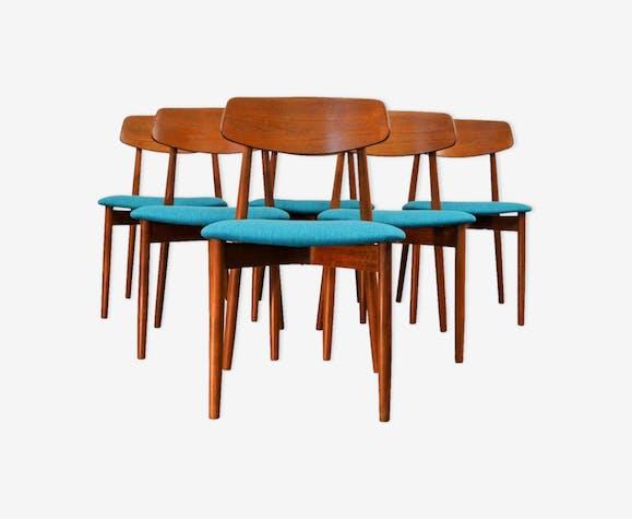 Ensemble de 6 chaises vintage Harry Østergaard en teck