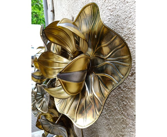 Applique ou plafonnier Henri Fernandez fleur de lotus