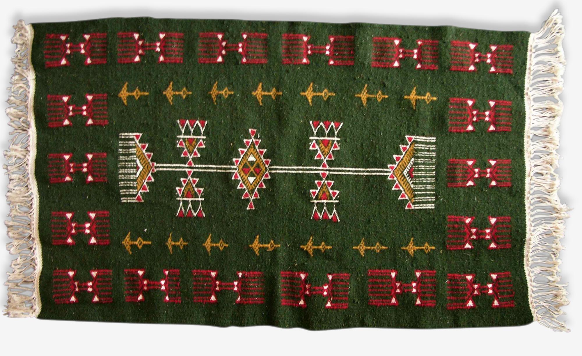 Tapis kilim berbère vert, 100x60