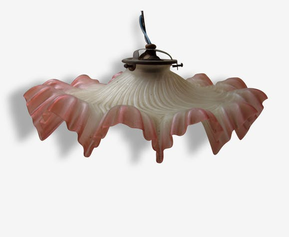 Suspension, opaline rose et blanche