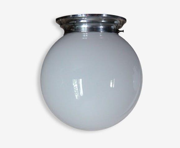 lampe applique plafonnier vintage globe en verre opaline blanche diam tre 20 cm verre et. Black Bedroom Furniture Sets. Home Design Ideas