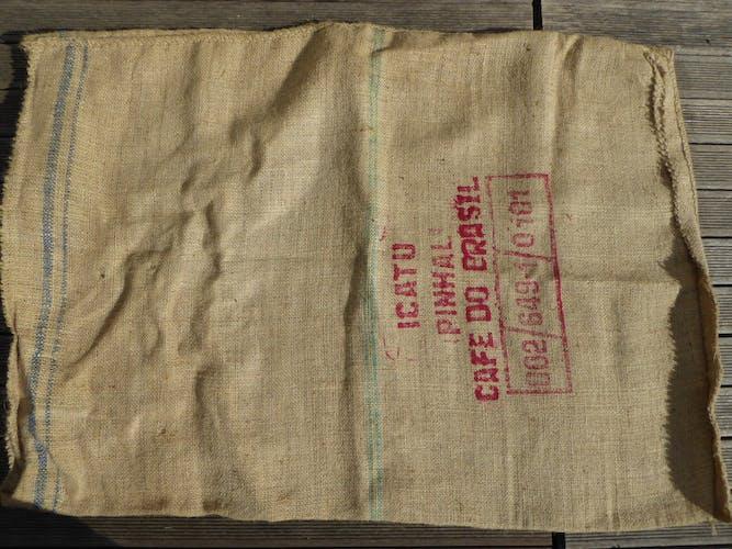 Coffee do Brasil burlap bag blue stripes