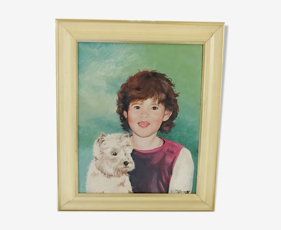 Portrait of a child and his dog