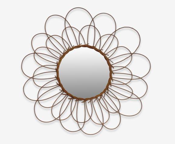 miroir soleil en osier fleur rotin et osier marron vintage 23244. Black Bedroom Furniture Sets. Home Design Ideas