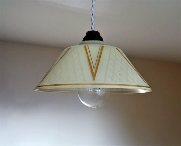 Antique small suspension 1930 s satin glass