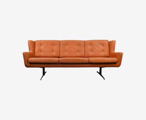 Canapé 3 places encuir vintage par Skjold Sørensen