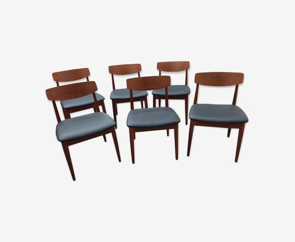 6 scandinavian chairs in solid mahogany