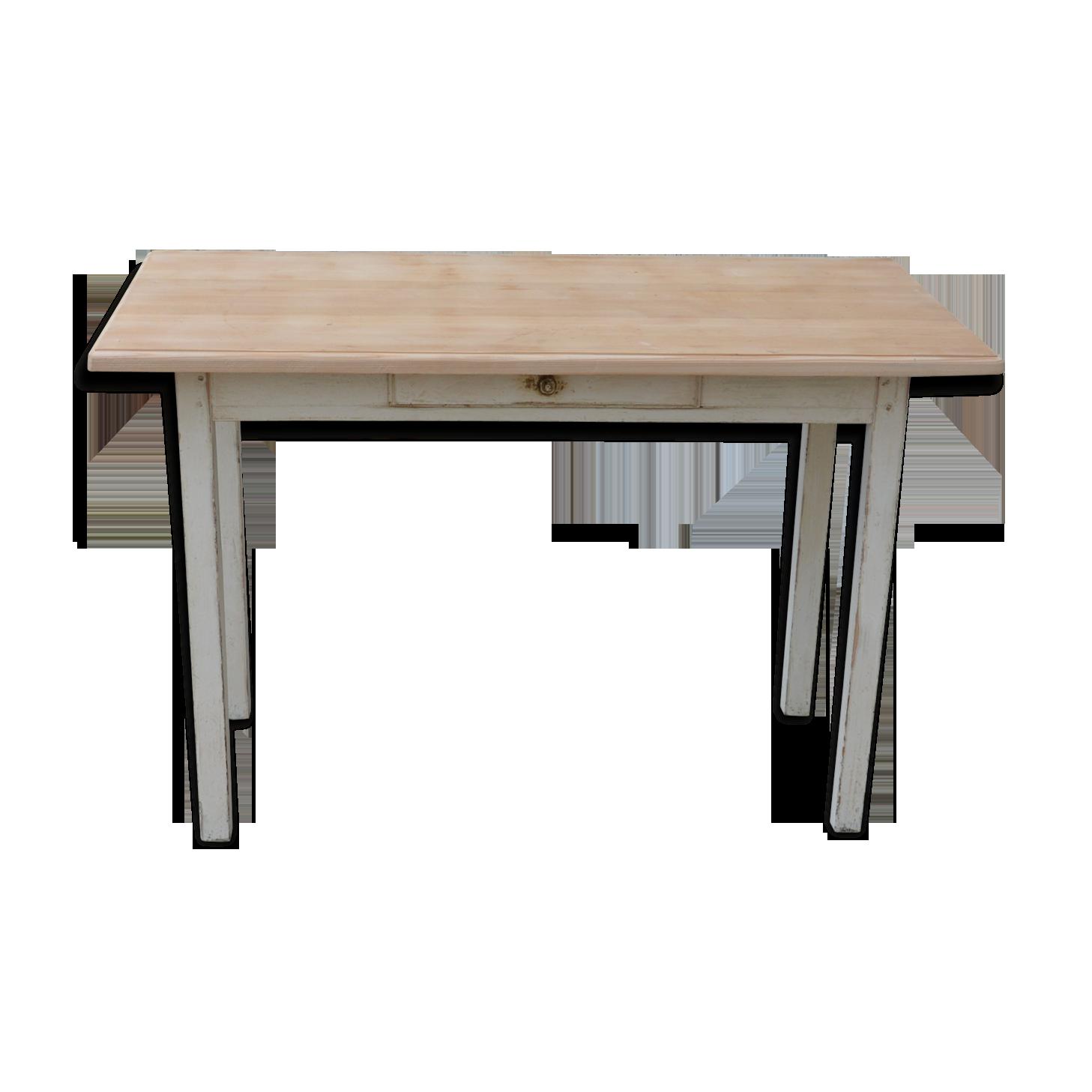 Table de ferme bois matériau blanc vintage fsnlfv