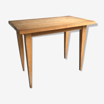 Table basse vintage en chêne pieds compas