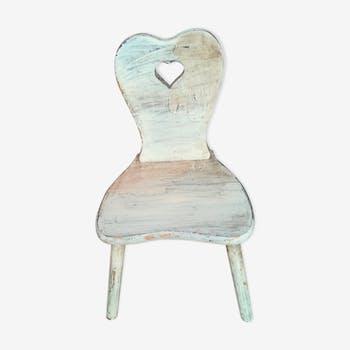 Chaise alsacienne d 39 enfant ch ne sculpt coeur du xix me si cle bois mat riau marron - Chaise alsacienne ancienne ...
