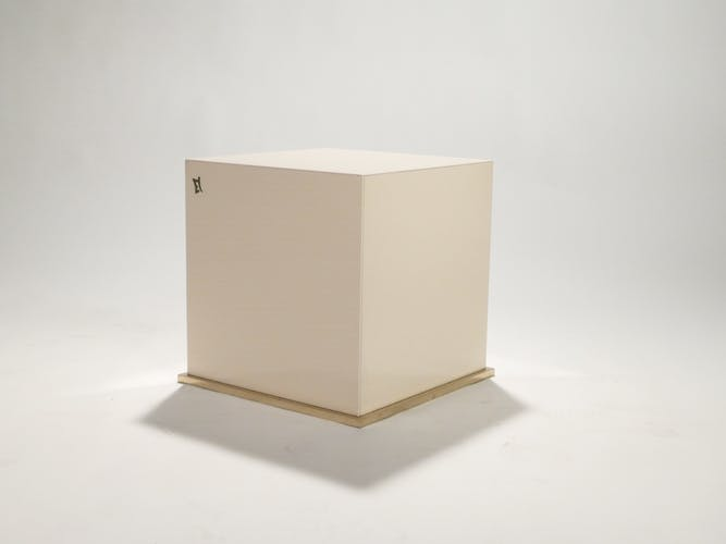 Cube end sofa lacquer and brass JC Mahey of 1970