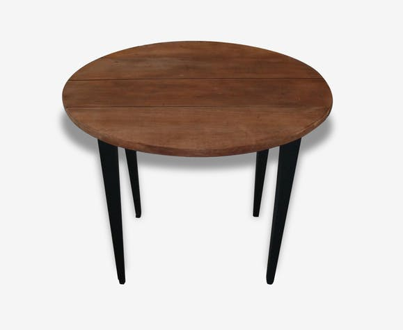 table ronde avec rallonges pi tement patin gris ardoise plateau en bois brut bois. Black Bedroom Furniture Sets. Home Design Ideas