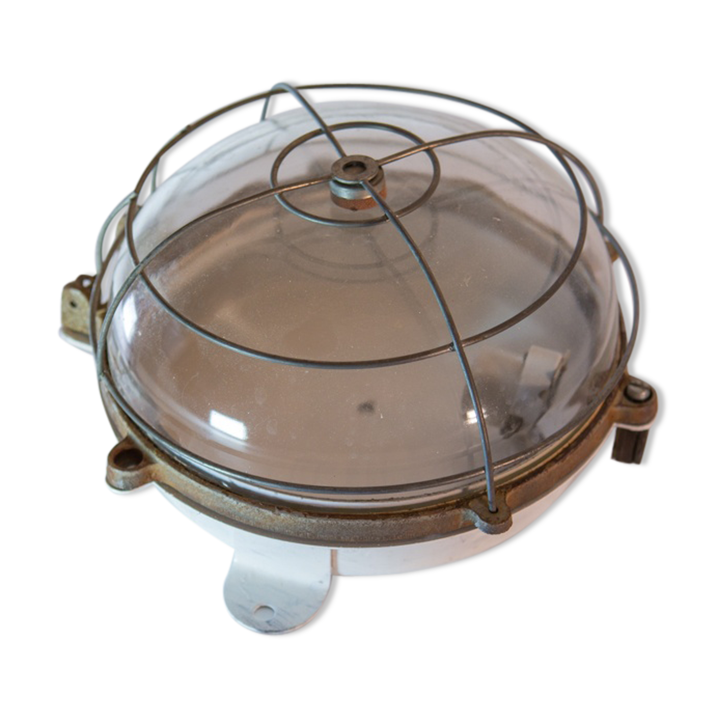 Applique d extérieur vintage métal transparent industriel
