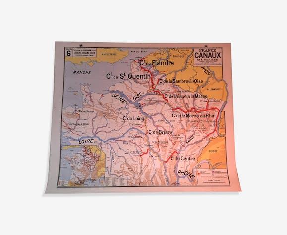 Vintage school map Canals Vidal Lablache