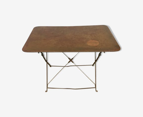 Table en fer de jardin pliante - fer - marron - industriel - gGEptoM