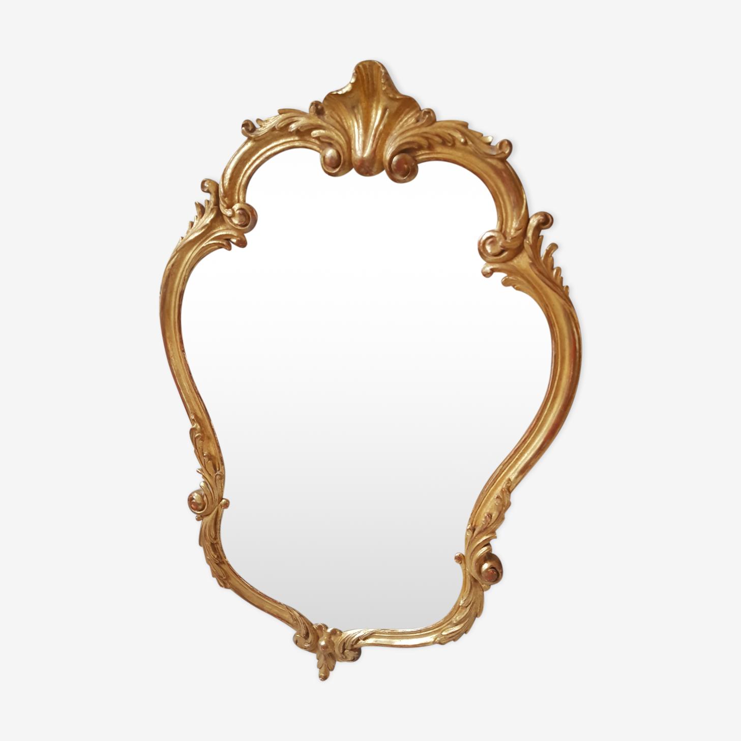 Miroir style Louis XV en bois sculpté doré 90x58cm