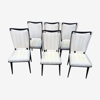 Chaise design industrielle scandinave vintage d 39 occasion - Lot de 6 chaises en bois ...