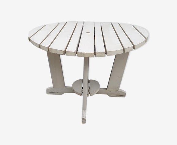 Ancienne table pliante de jardin a lattes de bois peint blanc - bois ...