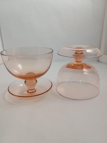 Lot de 6 coupes en verre rose