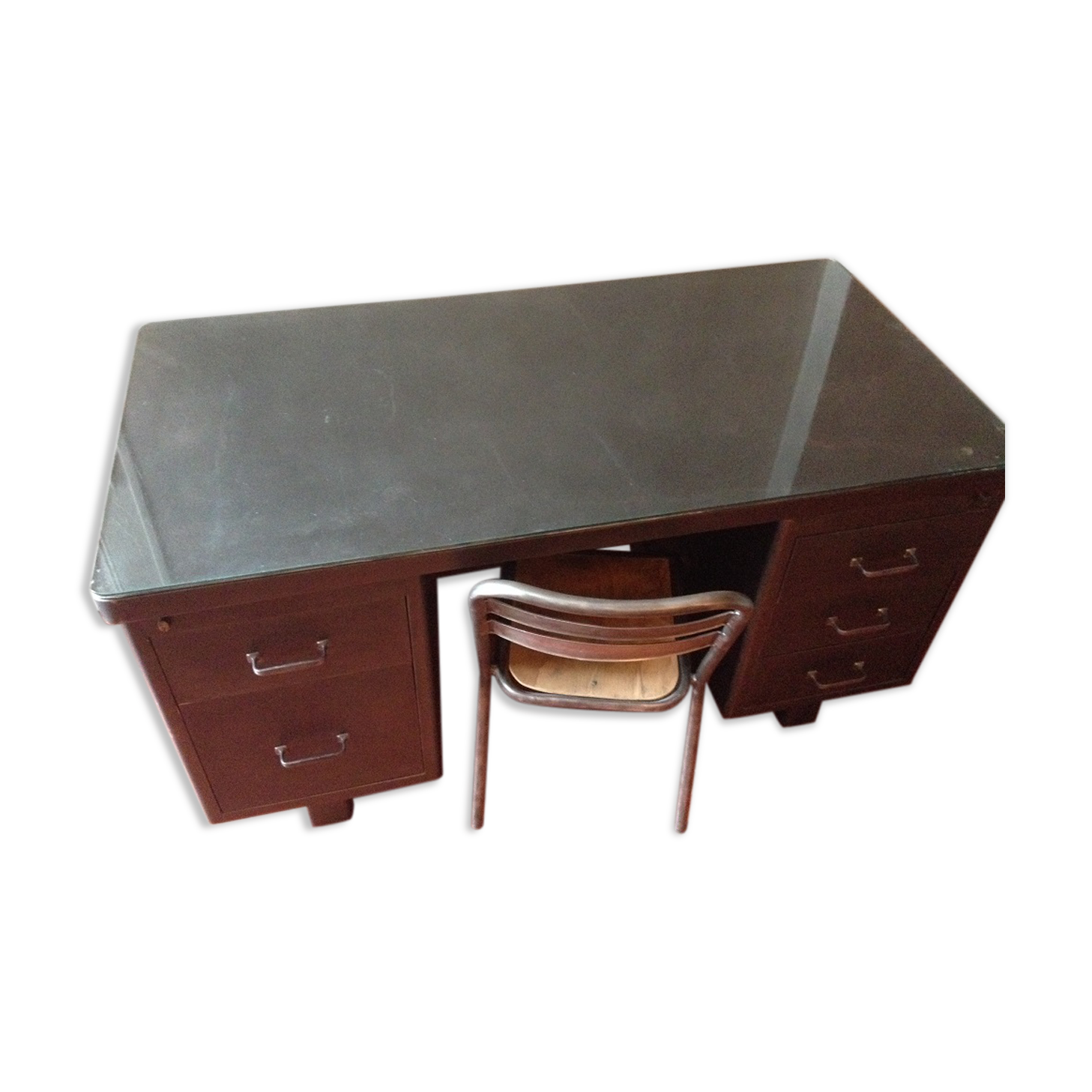 Bureau Metal Industriel Perfect Bureau Mtal Et Noyer Hiba Avec