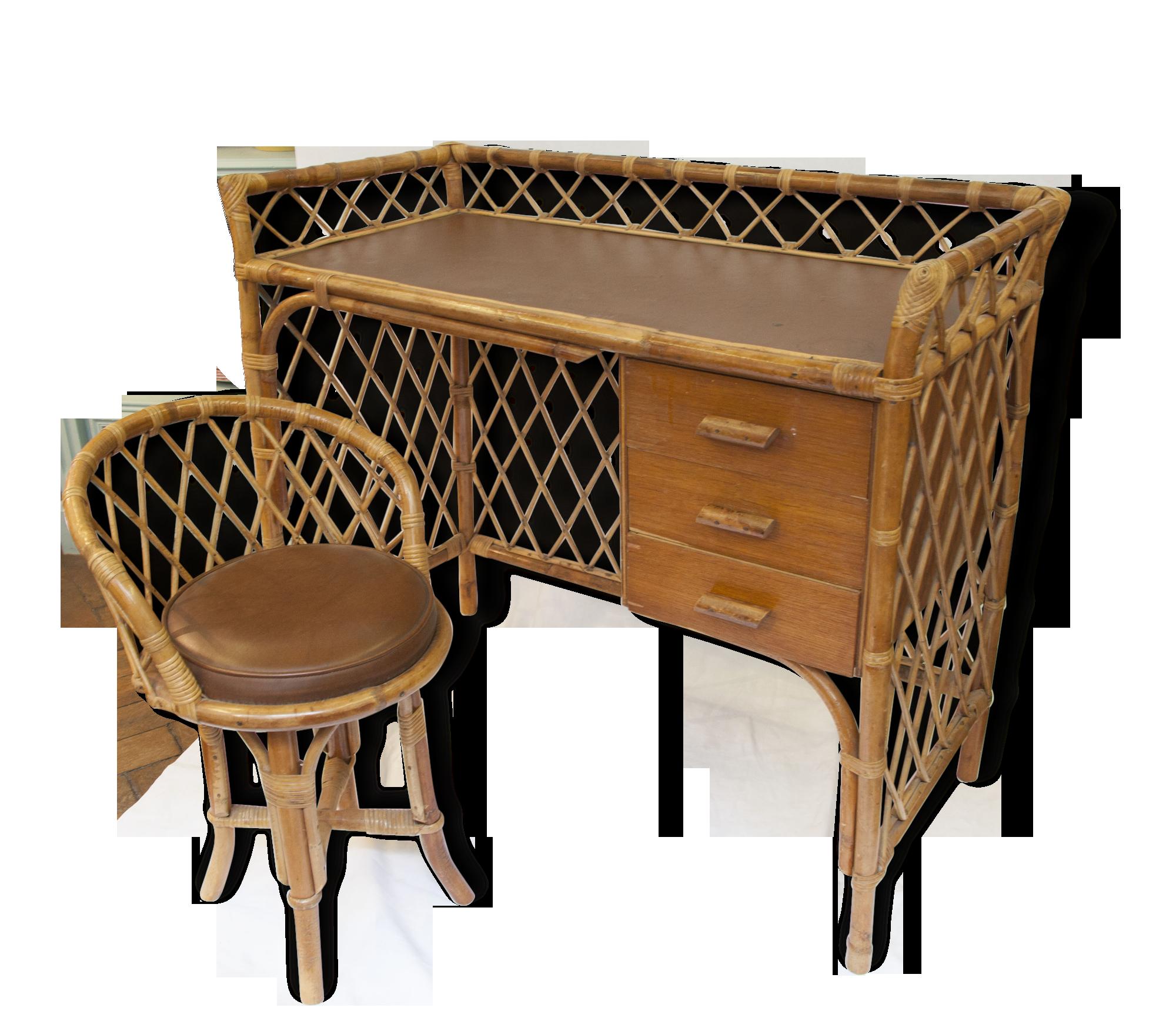 Bureau rotin croisillons dans le style royère avec son siège