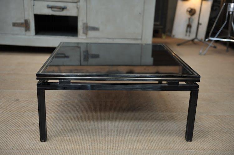 Table basse métal et opaline noir de Pierre Vandel Paris 1970