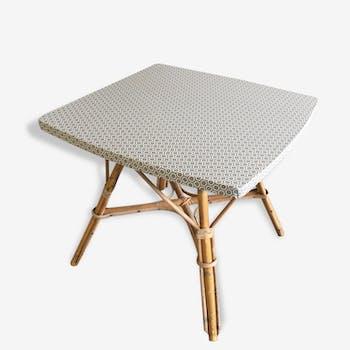 Table low revamped vintage rattan