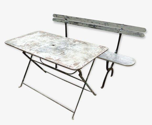 Table de jardin rectangulaire ancienne - iron - vintage - 85599