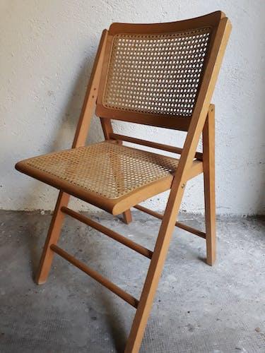 Chaise pliante vintage bois et cannage