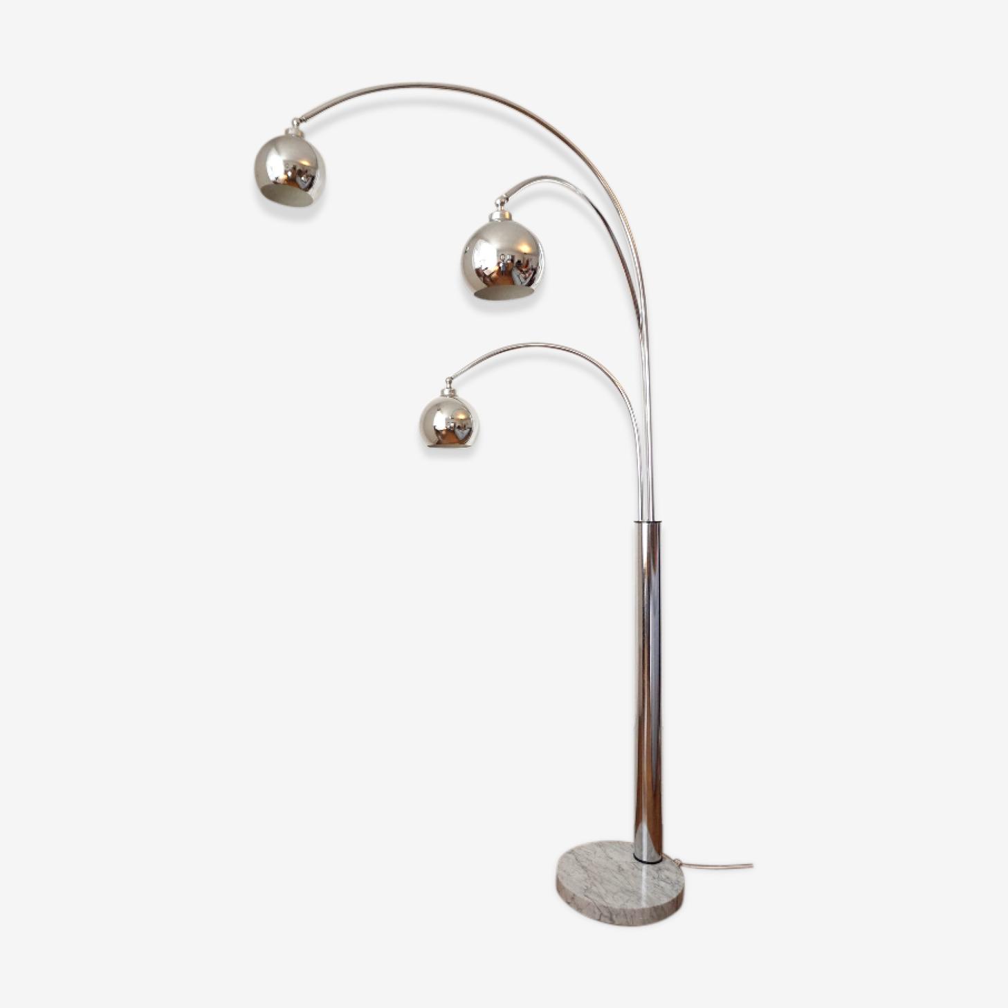 Lampe vintage 3 globes pied en marbre