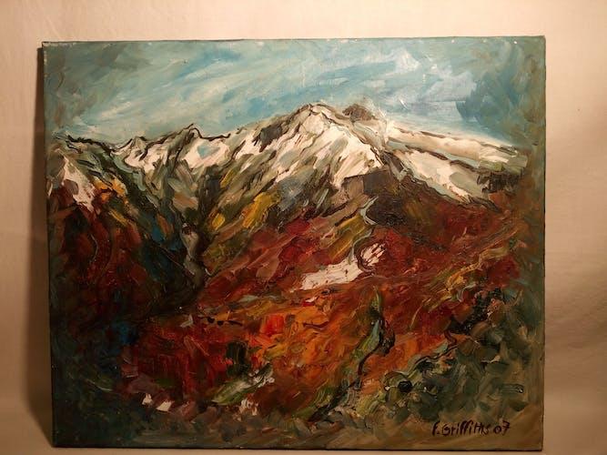 Peinture à l'huile sur toile du Pic du Canigou  signée de l'atelier d'art Françoise Griffiths