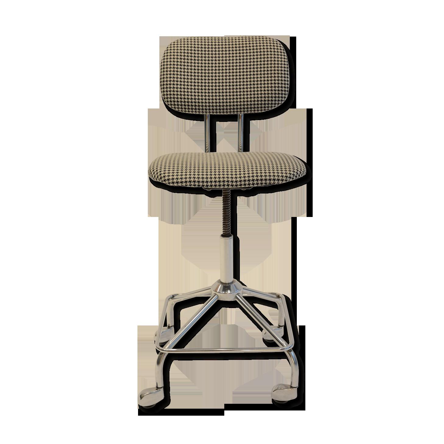 Chaise de bureau tissu pieds de poule tissu gris vintage