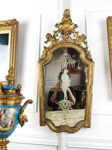 Mirror Venetian 18th with engraved decoration  83,5x40cm