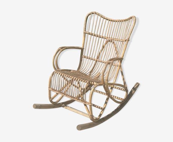 Vintage Rattan Wicker Rocking Chair Rattan And Wicker Wooden