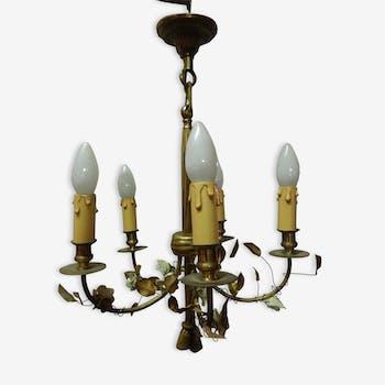 Petit lustre en bronze et porcelaine style Louis XVI