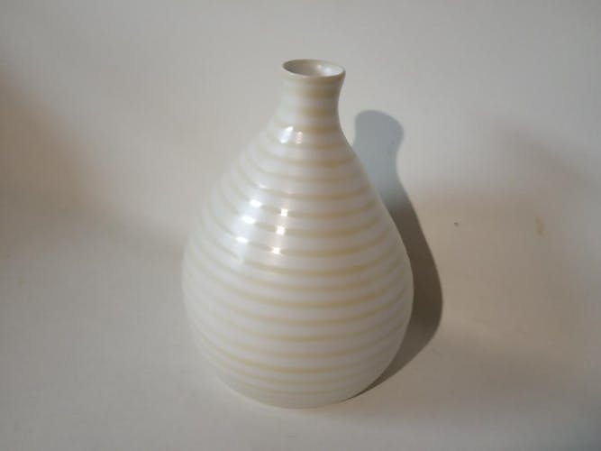 White and yellow striped handmade vase