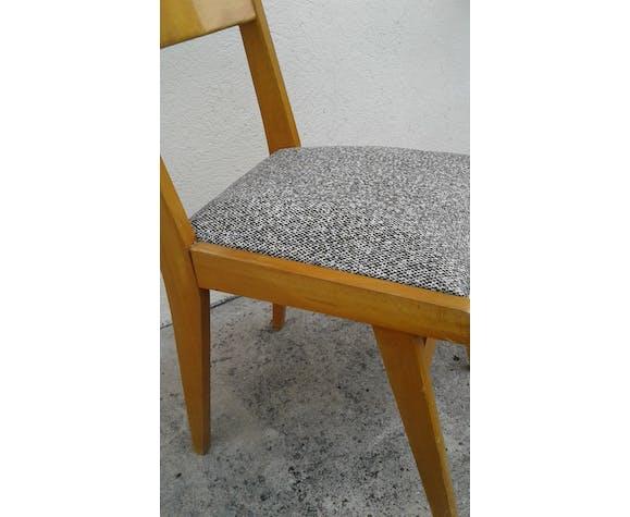 Pair of chairs beech and skai years 1950-60