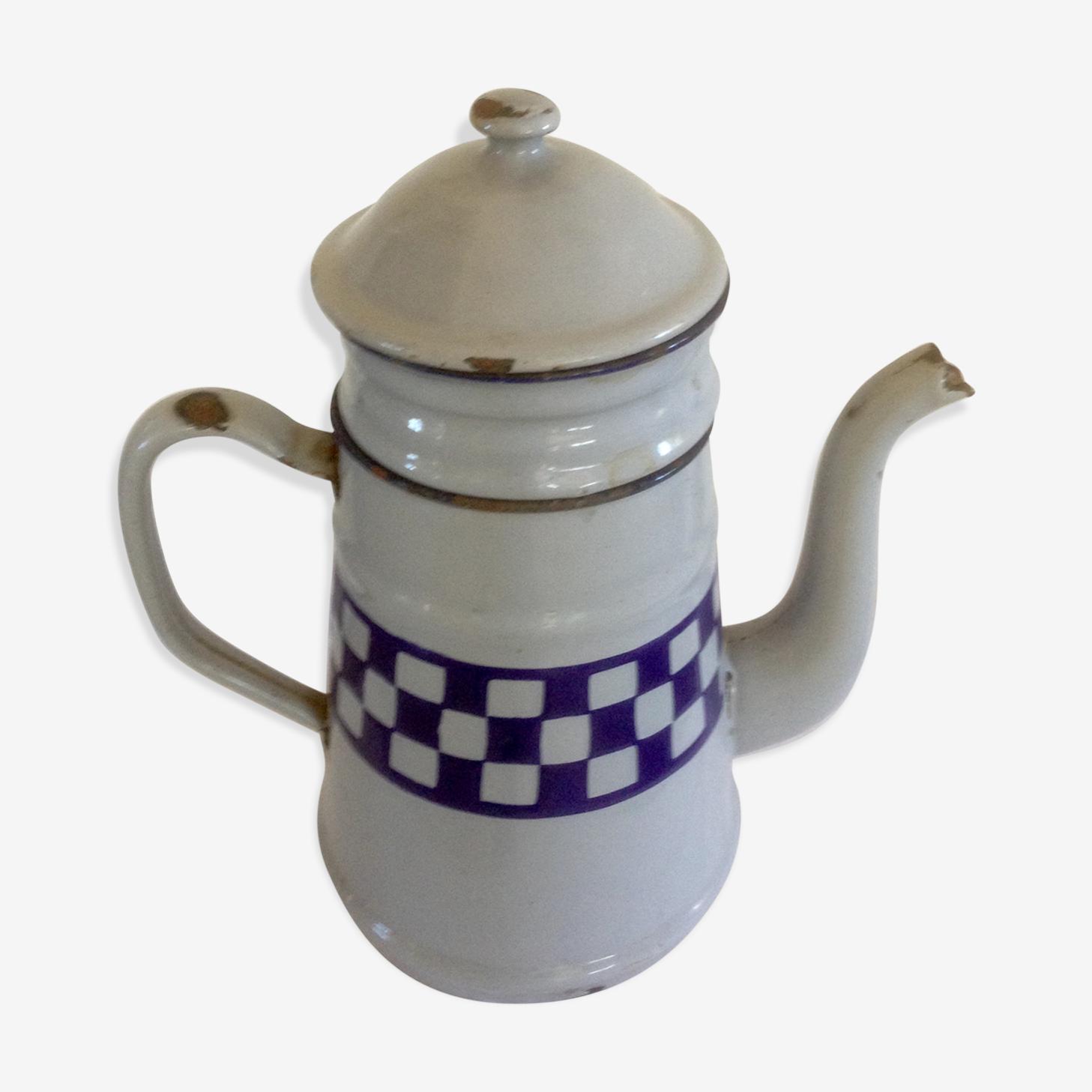 Cafetière vintage en tôle émaillée grise