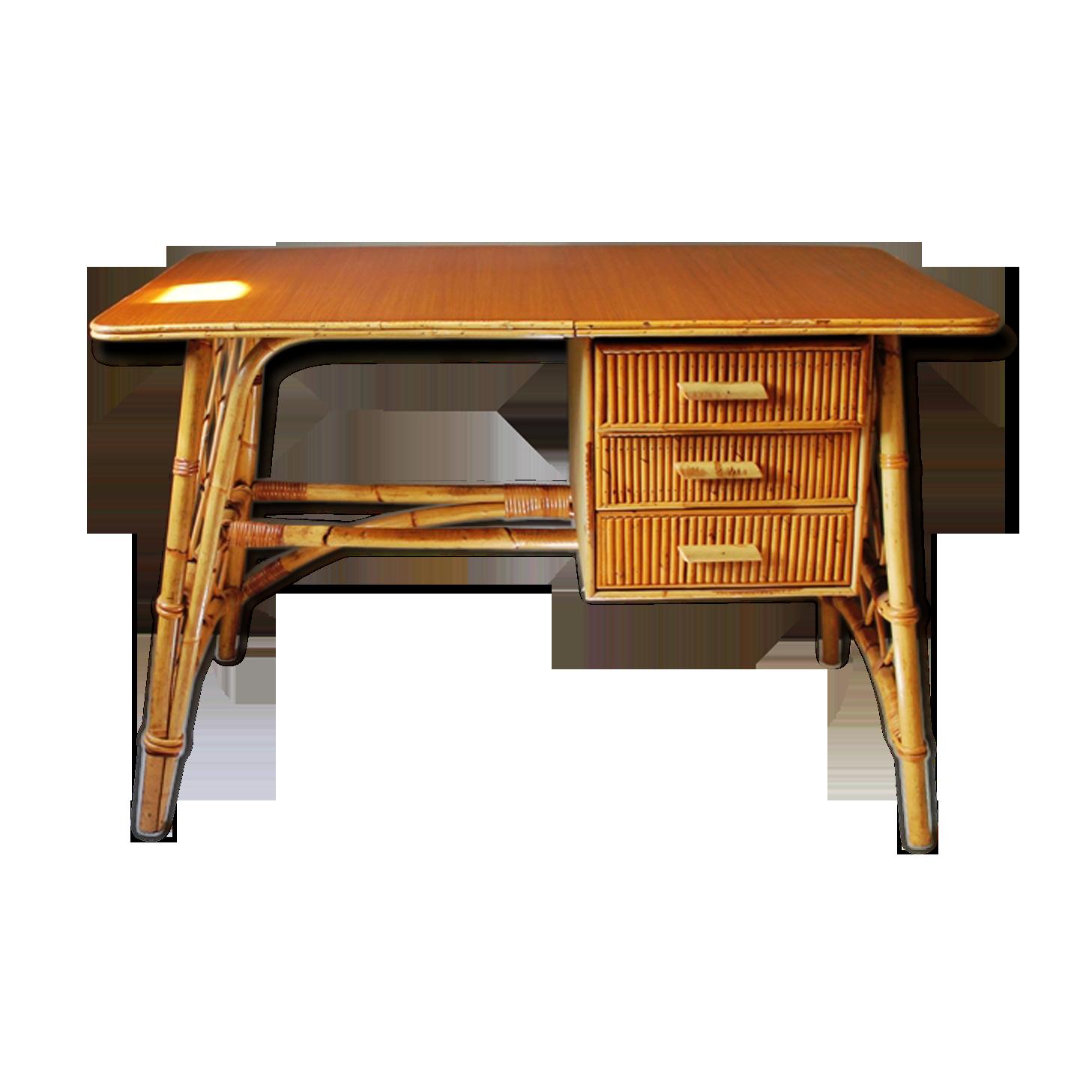 Bureau en rotin et bambou vintage rotin et osier jaune