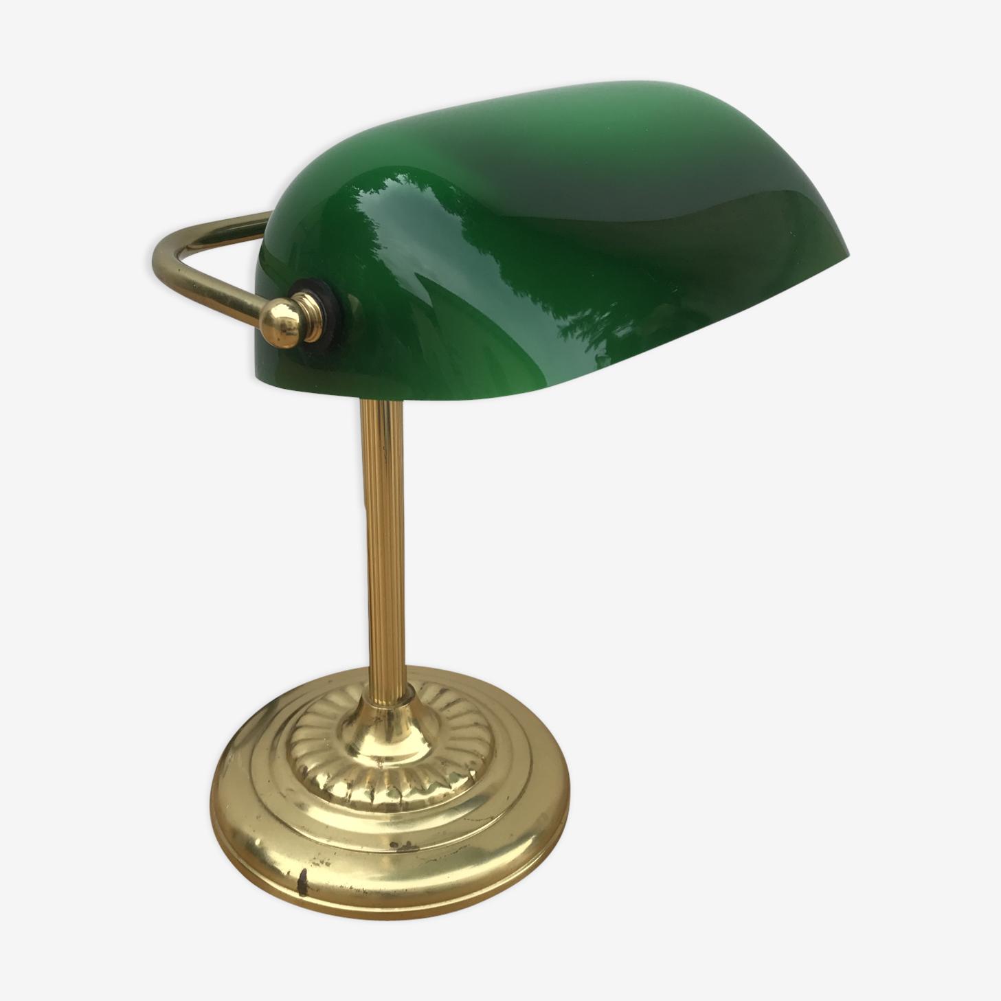 Ancienne Lampe De Banquier En Laiton Abat Jour En Opaline Vert