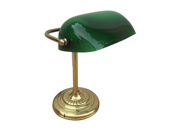 Ancienne lampe de banquier en laiton abat jour en opaline - Lampe de bureau banquier laiton verre vert ...