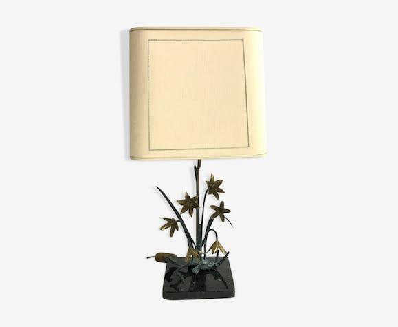 Lampe de table en bronze fleur, des années 1970