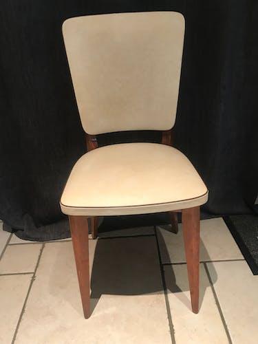 Suite de 6 chaises vintages Skaï beige 1970
