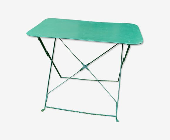 Table de jardin rectangulaire pliante en fer - fer - vert - vintage ...