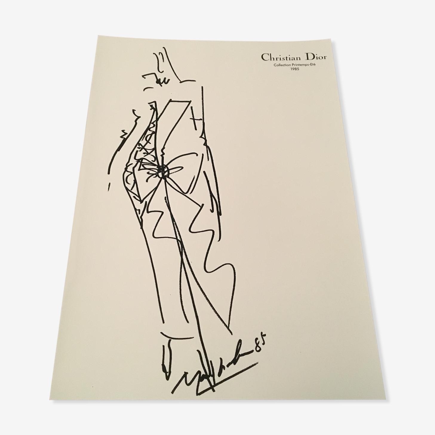 Illustration de mode et photographie vintage originale de presse Christian Dior des années 80