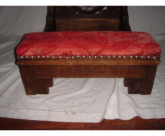 Prie-dieu Napoléon III en bois & tissus orange