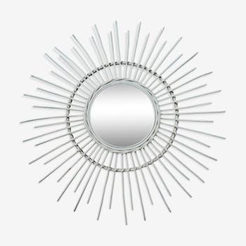 Miroir soleil vintage en rotin 80cm