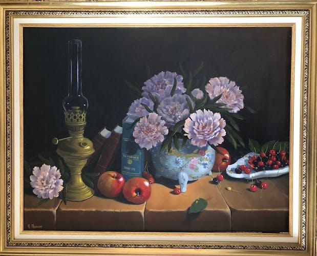 Huile sur toile nature morte aux fleurs et aux fruits